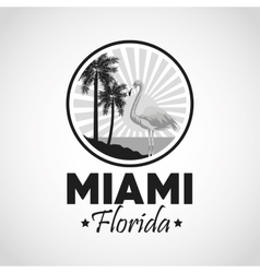 Palm tree and flamingo icon miami florida design vector