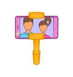 Selfie stick with mobile phone icon cartoon style vector