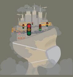 abstract head of pollution in the city pollution vector image