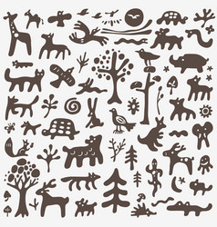animals doodles set vector image