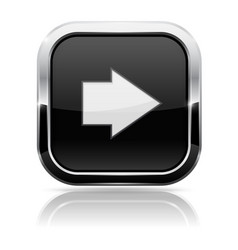 black square button with white arrow vector image vector image