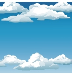 blue sky clouds background design vector image