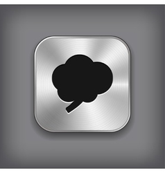 Brain icon - metal app button vector