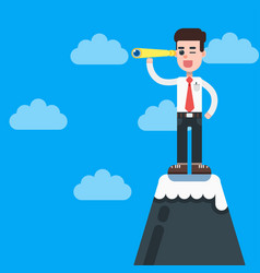 Businessman on top of mountain with telescope vector