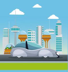 colorful scene futuristic city metropolis with vector image vector image