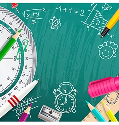 Creative chalk background with school supplies vector image