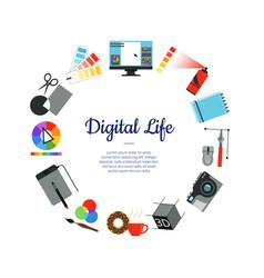Digital art design icons circle concept vector