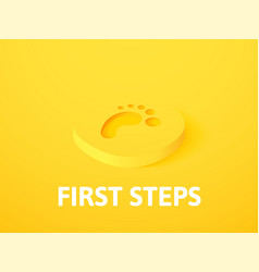 First steps isometric icon isolated on color vector