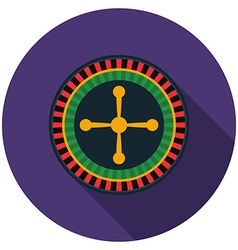 Flat design roulette icon with long shadow vector image vector image