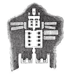Floor plan of the great temple abu simbel vintage vector