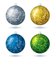 four christmas disco ball over white background vector image