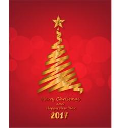Gold ribbon make christmas tree shape vector