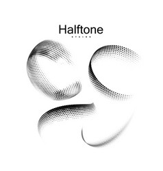 halftone 3d circular shapes collection vector image
