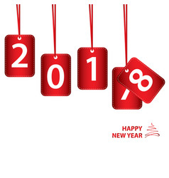 happy new year on red sign for 2018 isolated on vector image vector image
