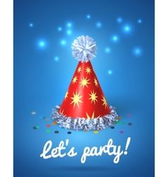 Lets party poster with red hat and stars vector