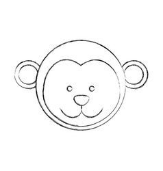 Monochrome blurred contour with male monkey head vector