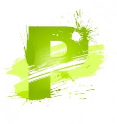 Paint splashes font letter p vector