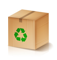 Recycle box brown cardboard box with vector