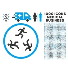 Running Men Icon with 1000 Medical Business vector image