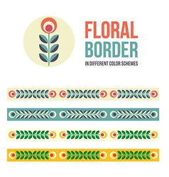 Set of design elements - floral borders vector image vector image