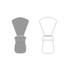 shaving brush grey set icon vector image vector image
