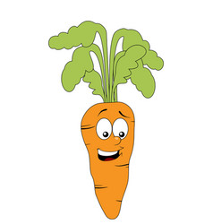 smiling carrot character isolated on white vector image vector image