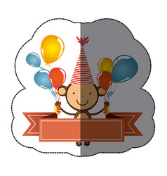 sticker colorful cute monkey animal with balloons vector image