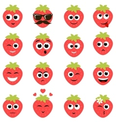 strawberry smiley faces vector image vector image