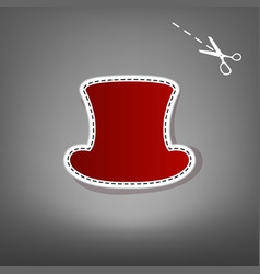 Top hat sign red icon with for applique vector