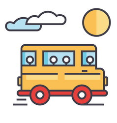 travel bus concept line icon editable vector image vector image