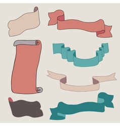 Vintage ribbons collection vector image