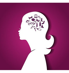 Woman head with icons vector image vector image