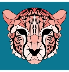 Orange low poly lined cheetah vector