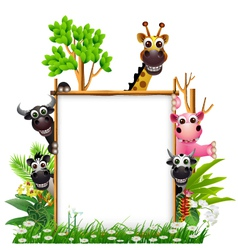 Funny animal cartoon with board vector