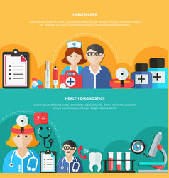 Health care flat banners vector