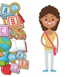 afro kid girl pupil supplies school vector image