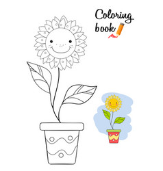 Smiling flower in a pot coloring book page vector