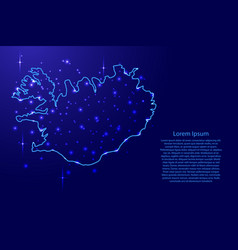 Map iceland from the contours network blue vector