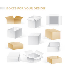 boxes - realistic set of cardboard vector image