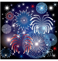 July 4th fireworks vector