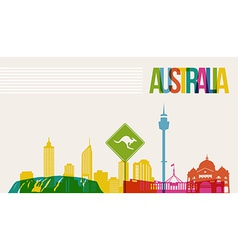 Travel australia destination landmarks skyline vector