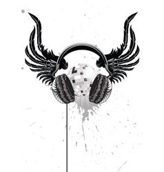 Headphone emblem vector