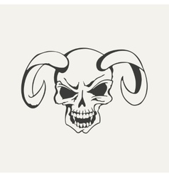 Horns with human skull black and vector