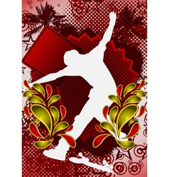 Skateboarder summer background vector