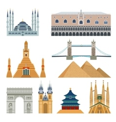 Landmarks and monuments set vector