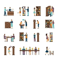 People in library icon set vector