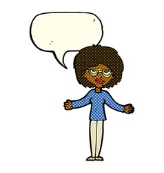 Cartoon woman wearing spectacles with speech vector
