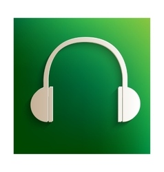 Headphones icon with shadow vector