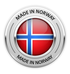 Silver medal made in norway with flag vector