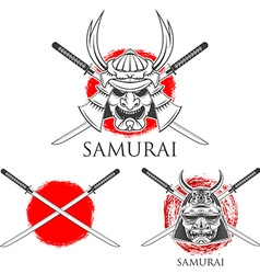 Samurai mask design elements vector